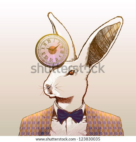 Clock rabbit - stock photo