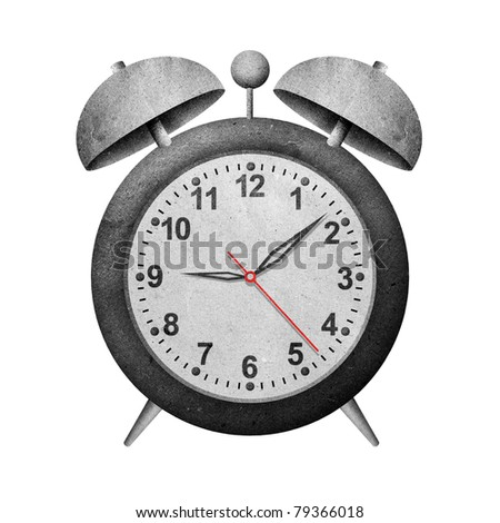 clock recycled paper craft stick on white background - stock photo
