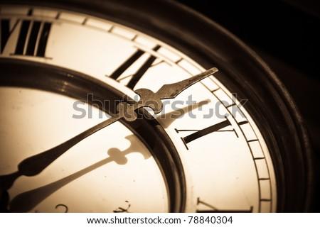 Clock retro background in sepia  - Vintage clock macro shoot - stock photo