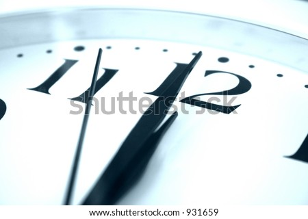 clock showing almost midnight - stock photo