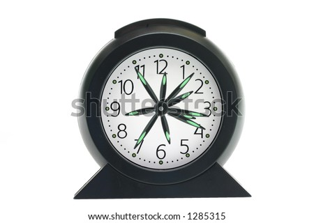 Clock showing multiple times on white background, time flies, not having enough time. - stock photo