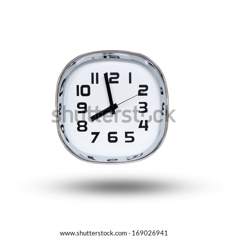 clock showing near eight o'clock - stock photo
