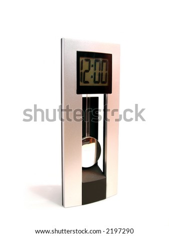 clock showing 12:00 on a white background - stock photo