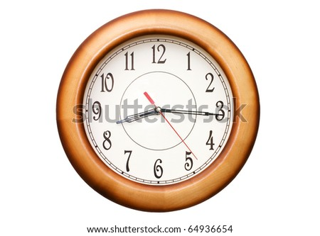 clock showing time about nine isolated - stock photo