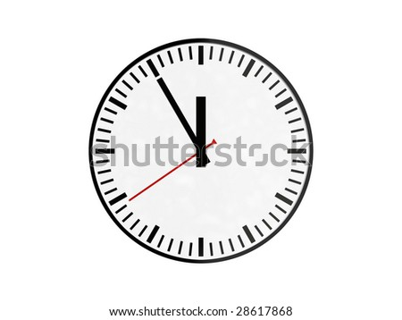 clock showing 5 to 12 isolated against white background
