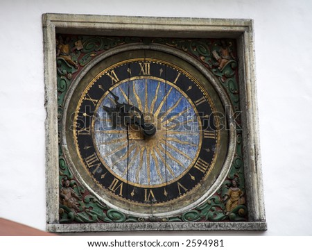 Clock Tallinn Estonia - stock photo