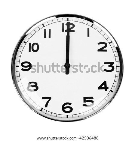 Clock that sign twelve O'Clock isolated on white - stock photo