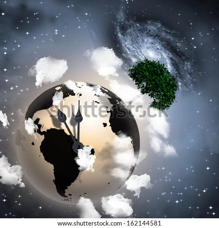 Clock Ticking Earth - stock photo