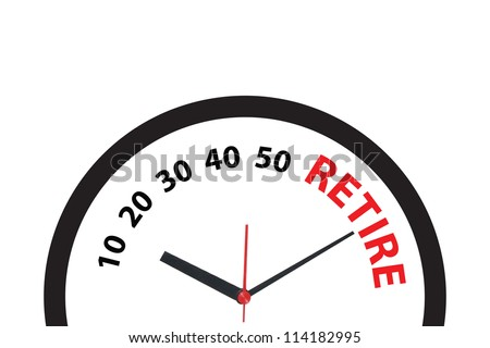 clock ticking to the time to retire - stock photo