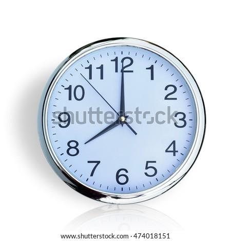 Clock , time 8 o'clock  isolated on white background. This has clipping path.