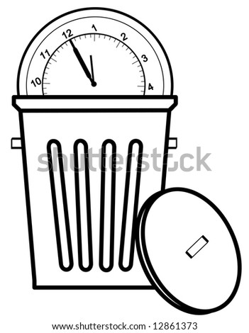 clock tossed in garbage can - concept of time management