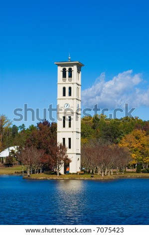 Clock Tower at Furman Univeristy in Greenville, SC. - stock photo