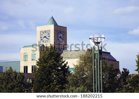 Clock Tower in downtown Milwaukee, Wisconsin. - stock photo