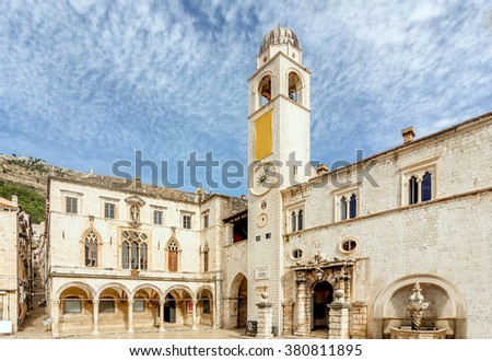 Clock Tower in Dubrovnik old town, Croatia - stock photo