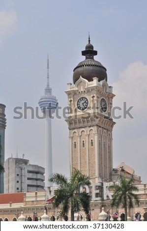 Clock tower in Kuala Lumpur, Malaysia - stock photo