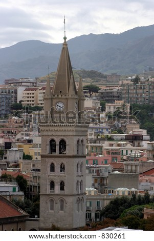Clock tower in Messina, Italy. - stock photo