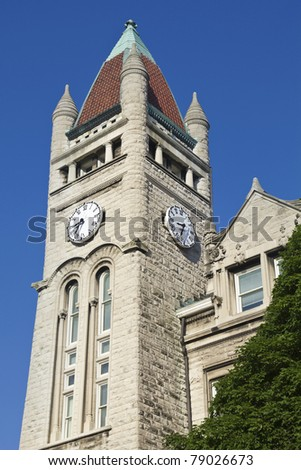 Clock Tower in the center of Louisville, Kentucky, USA - stock photo