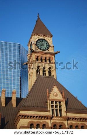 Clock Tower in the center of Toronto, Canada - stock photo
