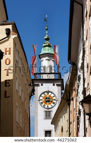 Clock tower of Old Town Hall in Salzburg - stock photo