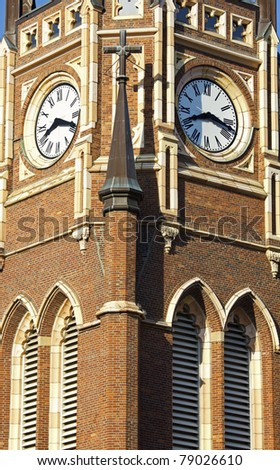 Clock Tower of the church in downtown of Louisville, Kentucky - stock photo