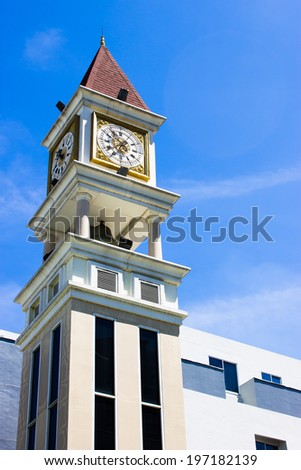 Clock tower on blue sky background