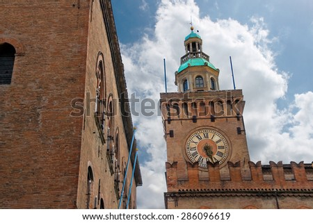 Clock Tower on Palazzo Comunale in Bologna. Italy - stock photo