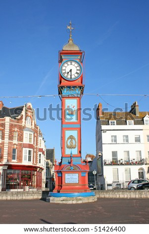 Clock tower on seafront.