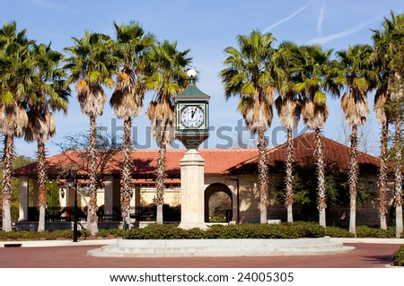 Clock tower on town square in St. Augustine, Florida - stock photo