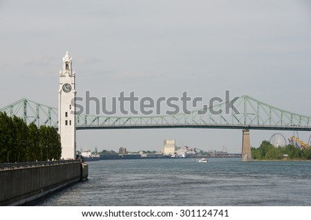 Clock Tower & St Lawrence River - Montreal - Canada - stock photo
