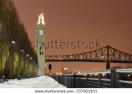 Clock Tower (Tour d'Horloge) and Jacques-Cartier Bridge, Old Port (Vieux Port), Montreal