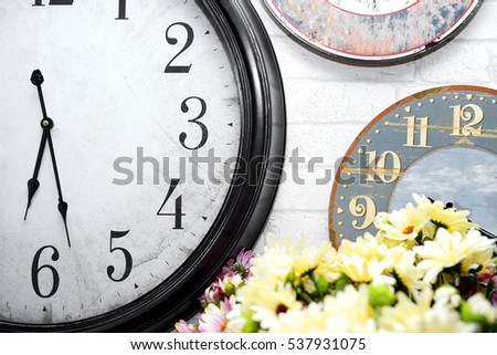 Clock,wall vintage,retro isolated on the white background