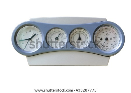 Clock-weather station with a record-low readings of atmospheric pressure isolated on white background - stock photo