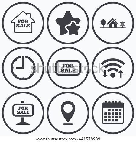 Clock, wifi and stars icons. For sale icons. Real estate selling signs. Home house symbol. Calendar symbol. - stock photo