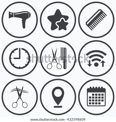 Clock, wifi and stars icons. Hairdresser icons. Scissors cut hair symbol. Comb hair with hairdryer sign. Calendar symbol. - stock photo
