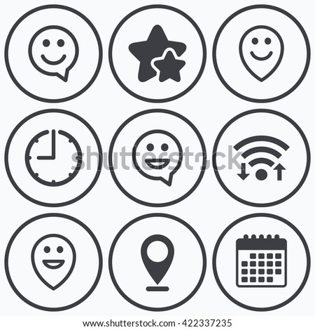 Clock, wifi and stars icons. Happy face speech bubble icons. Smile sign. Map pointer symbols. Calendar symbol.