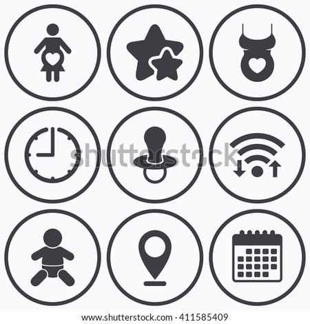 Clock, wifi and stars icons. Maternity icons. Baby infant, pregnancy and dummy signs. Child pacifier symbols. Shirt with heart. Calendar symbol. - stock photo