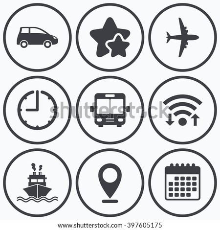 Clock, wifi and stars icons. Transport icons. Car, Airplane, Public bus and Ship signs. Shipping delivery symbol. Air mail delivery sign. Calendar symbol. - stock photo