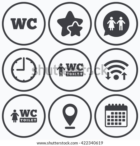 Clock, wifi and stars icons. WC Toilet icons. Gents and ladies room signs. Man and woman speech bubble symbol. Calendar symbol.
