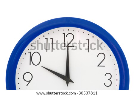 Clock with blue frame on white background. Ten o'clock - stock photo