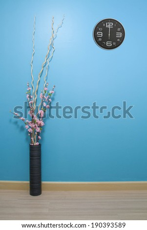 Clock with bule background. - stock photo