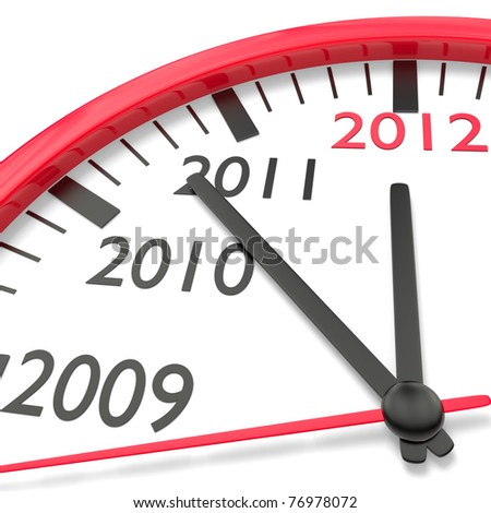 Clock with countdown to New Year 2012 - stock photo