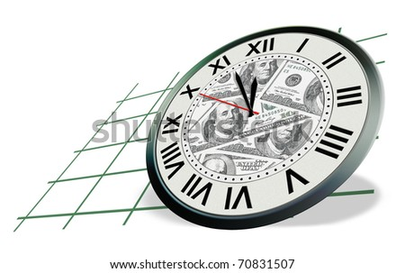 clock with dollars banknote picture isolated on white