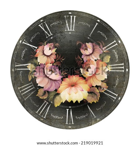 Clock with flowers painted in provence style. - stock photo