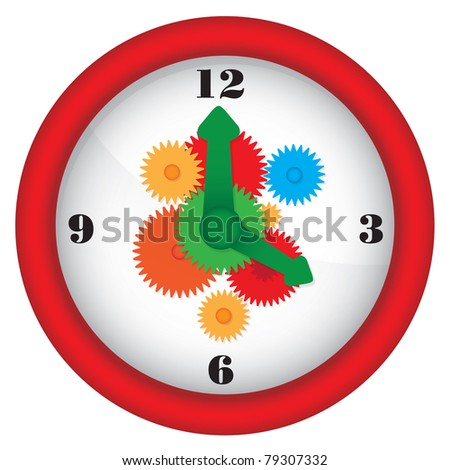 Clock with gears - colorful illustration - raster version of vector ID 78378685 - stock photo