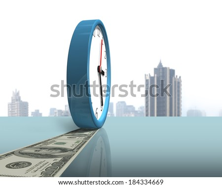 Clock with money on glass table city view background - stock photo