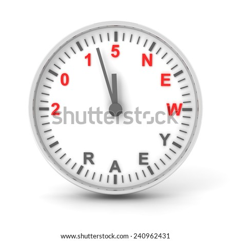 Clock with 2015 new year text, 3d render