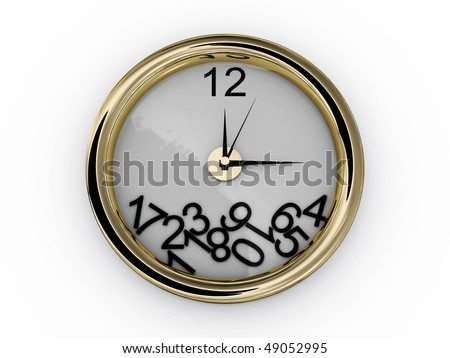 Clock with numbers have fallen. 3D - stock photo