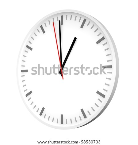 Clock with one red hand. 3d rendered illustration. - stock photo