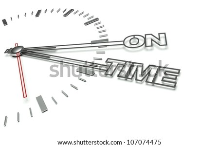 Clock with the words On time, concept of success - stock photo