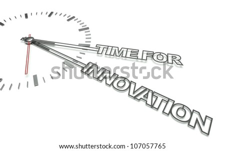 Clock with the words Time for innovation, concept of change - stock photo